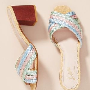 Anthropologie Shoes - 🆕NWT rare Pastel Braided Raffia Block Heel Mules
